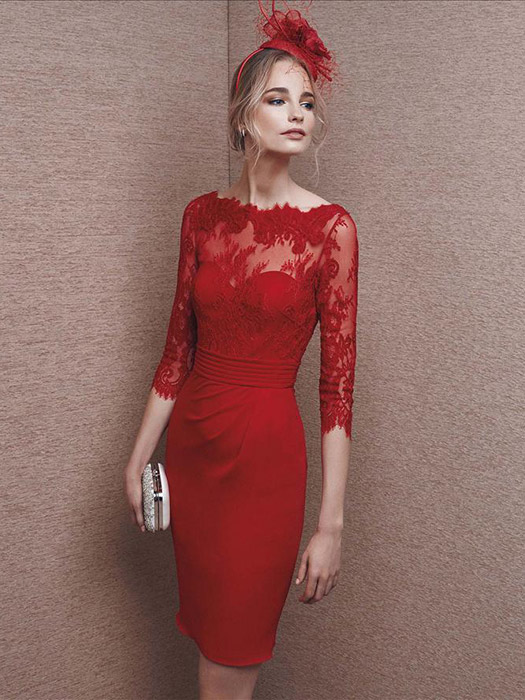 Robe de cocktail rouge mi longue